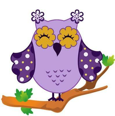 Purple Dots Owl Movable Wall Stickers