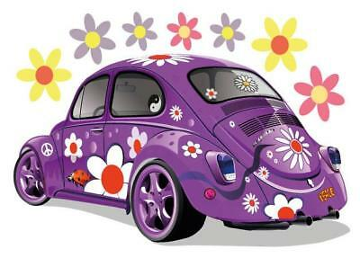 Hippy VW Retro Movable Wall Stickers - Purple