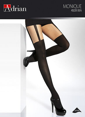 Mock Suspender Tights Stockings 40/20 Den size S M L XL XXL Adrian Monique