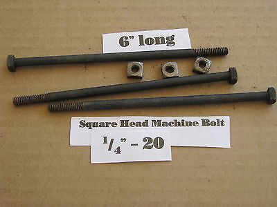 "Antique 1/4' -20 X 6""  Square Head Bolts with Nuts  NOS LOT of 10"