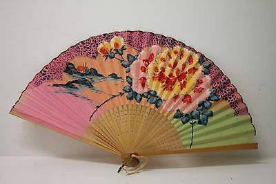 "ANTIQUE Japanese 8.5"" Pastel Hand Painted Floral HAND FAN"