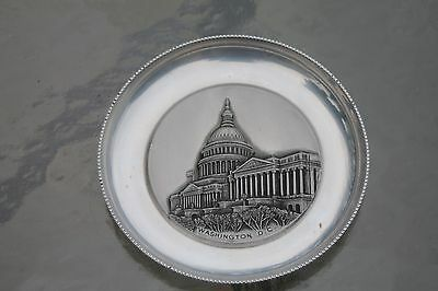 "Small Sterling Silver ALPHA Washington D.C. Decorative Plate, 4 1/4"" Diameter"