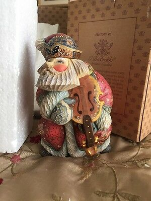 "G. Debrekht Violin Santa Figurine 7"" Tall Limited Editon 1200 Hand Painted NEW"