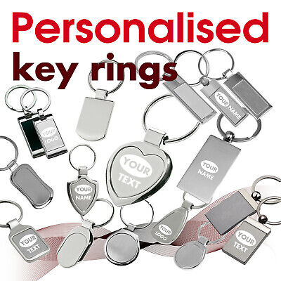Personalised Key Ring engraved with text, name, logo * 07 * GIFT* brithday heart