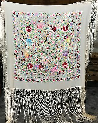 "Antique Silk Hand Embroidered Piano Shawl 56"" By 54"" Fringe 25''"