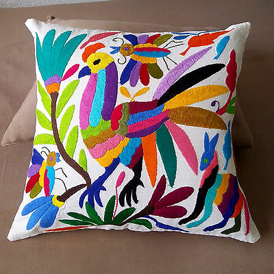 Gorgeous Otomi Embroidered Pillow Cover From Tenango Mexico. Mexican Folk Art