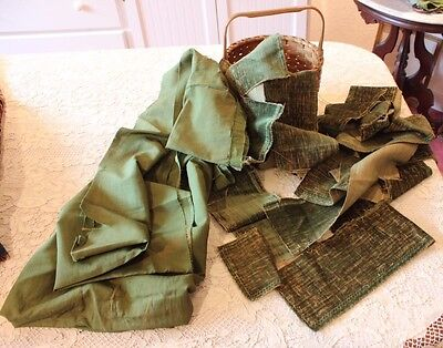 Antique 17thC-18thC French Green Worn Silk Velvet Lot For Dolls, Projects