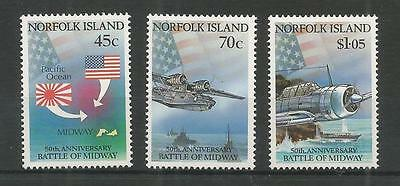 Norfolk Islands 1992 Battle Of Midway Sg,531-533 U/m Nh Lot 3949A