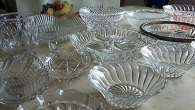 26 Job Lot Pressed Glass Dishes Bowls Wedding Sweets Tea Room Vintage Party