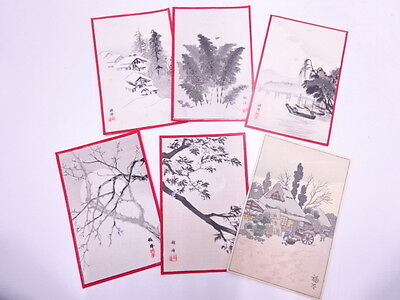 Vintage Japanese Woodblock Print / Hand Printed / Boats & Scenery / Set Of 6