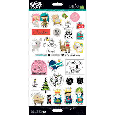 Bella Blvd Illustrated Faith Christmas Collection Cardstock Stickers Elements