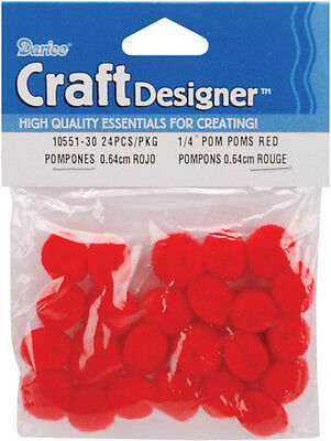 """1/4"""" Acrylic Craft Project Pom Poms Red 24pc"""