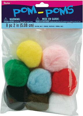 """Darice Pom Poms  Assorted Colors  2"""" Size  8/ Pack"""