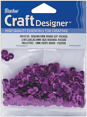 Darice Loose Cup Sequins: Pink Fuchsia Sequins, 5mm, 800/Pack