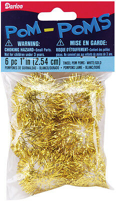"""1"""" Holiday Craft Project Tinsel Pom-Poms White/Gold 6pc"""