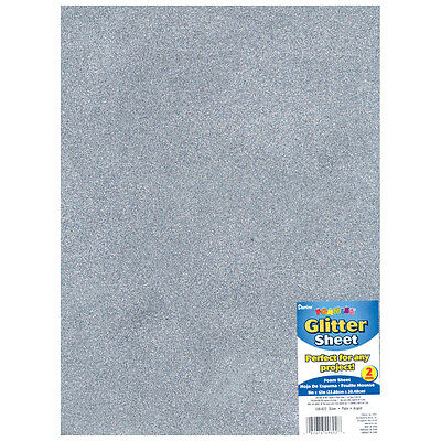 "Darice Glitter Foam Sheet - Silver - 9"" x 12"" - 2 mm Thick - 1 Each"