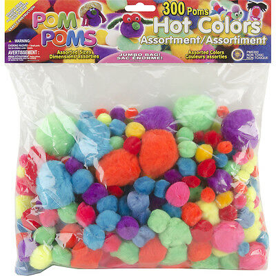 Pom-Poms Assortment - Assorted Hot Colors - Assorted Sizes - 300/ Pack