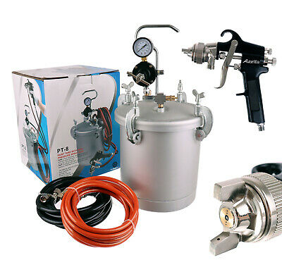 8ltr Pressure Tank with Air Regulator Paint Pot Spray Gun 1,8mm 2x Hoses