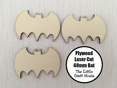 60mm Wooden Bat Laser Cut Shape Ply Blank Craft Batman Bats Wood Shapes DIY