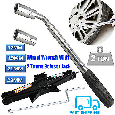 4 Way Wheel Nut Brace 17 19 21 23mm Car Vehicle Wrench Tool Spanner+Scissor Jack