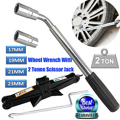 Heavy Duty Van Extendable Wheel Car Brace Socket Tyre Nut Wrench W/ Scissor Jack