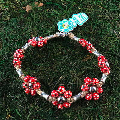 HOTI Hemp Handmade Red Painted Flowers Wood Beaded Floral Anklet Ankle Bracelet