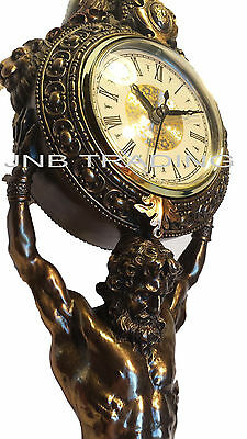 NEW Atlas Carrying Clock Statue Figures Sculpture Bronze Finish Ship Immediatel