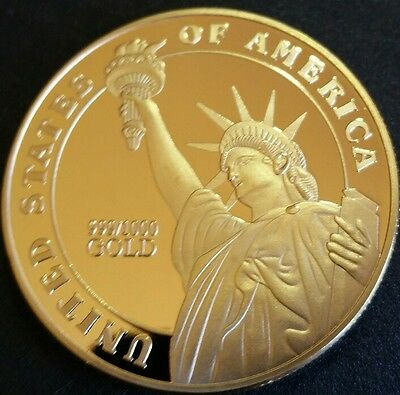 1oz MEDAL OF HONOR 999/1000 Gold Finish Coin 24K 100MILLS RARE free post