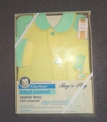 New Vintage Gerber Infant Coverall Sleep N Play Yellow 18 Pounds & Over