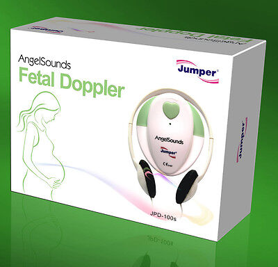 AngelSounds JPD-100S 3mhz fetal prenatal heart doppler ,w/gel and battery GREEN