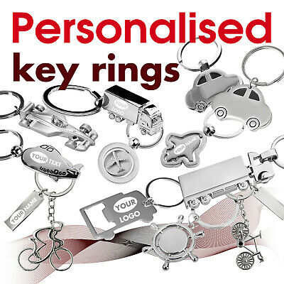 Personalised Keyring engraved with text, name, logo * 16 * GIFT * car * airplane