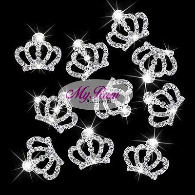 5 Princess Crown Embellishment Rhinestone Flatback Craft Scrapbooking Sparkly