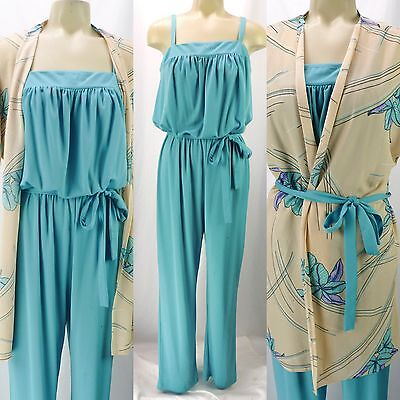 Vintage 80s Turquoise Belted Jumpsuit w/Gauze Floral Duster Top Beach 2-Piece M