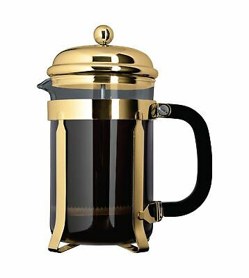 Café Ole 12 Cup Classic Coffee Maker Glass Cafetiere, Gold Finish, 1500ml 1.5L