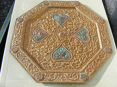 Rare Antique Tibetan Octagonal Offering  Tray Charger Plate Mixed Meatls