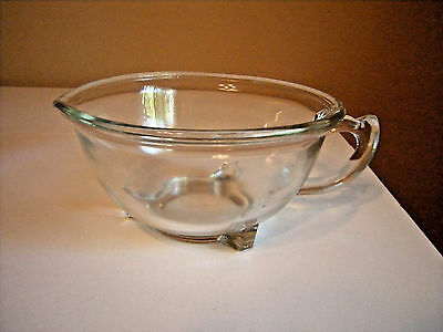 Vintage Anchor Hocking Glass Batter Bowl With Spout & Handle Footed Mixing Bowl