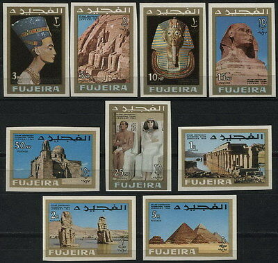 FUJEIRA 1966 ** MNH UNESCO Nefertiti Sphinx Tutankhamun Egypt full set IMPERF