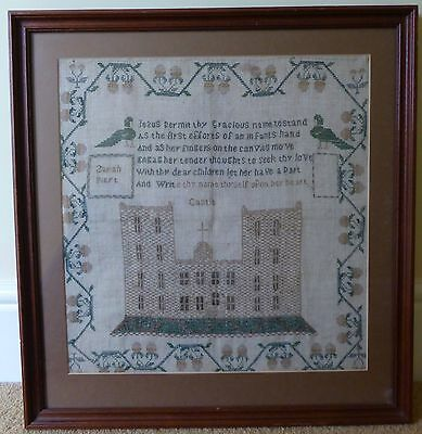 Victorian Needlework Sampler Sarah Piert Castle and Peacocks With Verse