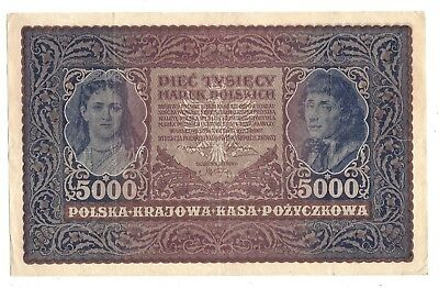 Poland 5000 Marek 1920 in (VF) CRISP Condition Banknote P-31