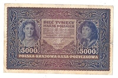 Poland 5000 Marek 1920 in (F-VF) CRISP Condition Banknote P-31
