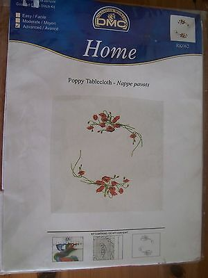 NEW Square white cotton table cloth embroidery kit 'Poppies' RK062