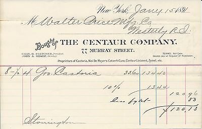 1876 New York NY Centaur Co Castoria/Wei De Meyers Catarrh Cure/Zymel Billhead
