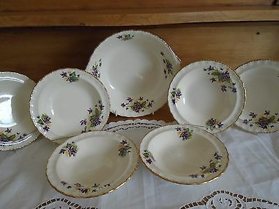 Vintage Grindleys Cream Petal Violets Serving Bowl Set For Teaset/wedding/teapot