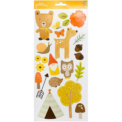 American Craft Pebbles Woodland Forest Collection Cardstock Stickers Icons