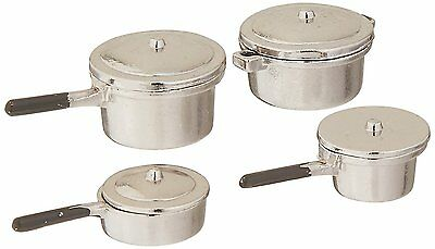 Darice Dollhouse Miniature Scale Silver Stovetop Cookware Set 0.75 x 1 Inches
