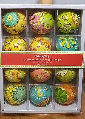 The Land of Nod Set of 12 Days of Christmas Ornaments Hand Painted Michael Mabry