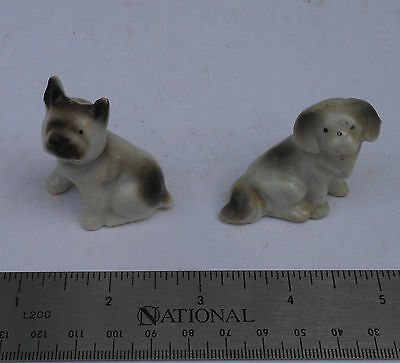 Vintage Lot of 2 Tiny Porcelain Ceramic Terrier Pekingese Dog Figures