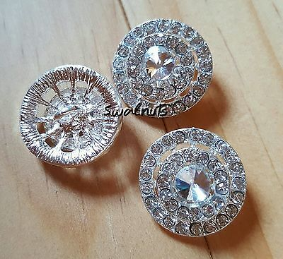 2pcs Round Crystal Rhinestone Diamante Shank Sew on Buttons 18mm Silver plated