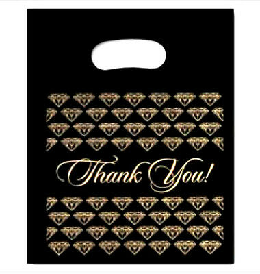 500 Plastic Black Jewelry Acessories Thank You Gold Diamond Gift Shopping Bag
