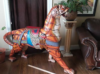 """GIANT VINTAGE HAND CARVED WOOD TIGER made in Indonesia 50 1/2"""" tall, 75"""" long."""